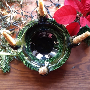 Adventi tál, Karácsony & Mikulás, Adventi koszorú, Kézi korongolással készült adventi tál.A tál tetszés szerint dekorálható,de tehető bele gyümölcs,vag..., Meska