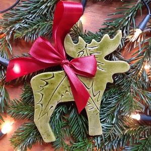 Rénszarvas, Karácsony & Mikulás, Karácsonyi dekoráció, Karácsonyi kerámia rénszarvas. Ajtókopogtatónak, lakás dekorációnak vagy kedves, apró ajándéknak is ..., Meska
