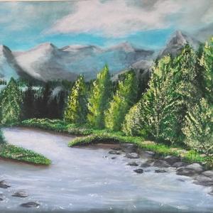 Erdők, hegyek, Művészet, Festmény, Akril, Festészet, Erdők, hegyek-tájkép\n40*50-es akril festmény feszített vásznon. 2 cm vastag oldalai festve vannak.\nF..., Meska