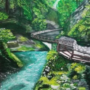 Vintgar szurdok, Művészet, Festmény, Akril, Festészet, Vintgar szurdok-tájkép\nVízesés, fák, zöld növények és egy fából készült keskeny ösvény a magasban.\n4..., Meska