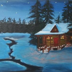 Téli kunyhó az erdő szélén, Művészet, Festmény, Akril, Festészet, Téli kunyhó az erdő szélén-tájkép\nAz éj sötétjében fény árad a kis rönkházból, mely melegséget sugár..., Meska