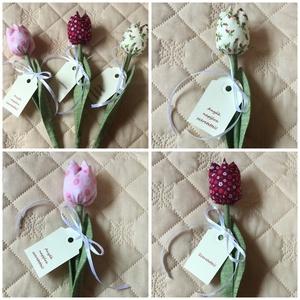 Textil tulipán / szett: 12 db/ ingyen ajándékkísérővel (FDesignbyFruzsina) - Meska.hu