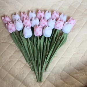 Textil tulipán / szett: 20 db/ ingyen ajándékkísérővel, Otthon & Lakás, Dekoráció, Varrás, Egyedi textil TULIPÁNOK eladók. \n\nA csokor  20 szál tulipánt tartalmaz:\n- rózsaszín\n- fehér árnyalat..., Meska