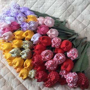 Textil tulipán / szett: 12 szál/ ingyen ajándékkísérővel (FDesignbyFruzsina) - Meska.hu