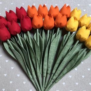 Textil tulipán /szett: 20 szál/ ingyen ajándékkísérővel, Csokor & Virágdísz, Dekoráció, Otthon & Lakás, Varrás, Egyedi textil TULIPÁNOK eladók. \n\nA csokor 20 szál tulipánt tartalmaz:\n- 7 piros\n- 7 sárga\n- 6 naran..., Meska