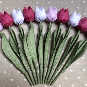 Textil tulipán /szett: 10 db/ ingyen ajándékkísérővel, Csokor & Virágdísz, Dekoráció, Otthon & Lakás, Varrás, Egyedi textil TULIPÁNOK eladók. \n\nA csokor 10 szál tulipánt tartalmaz:\n-4 pink\n-3 rózsaszín-fehér pö..., Meska