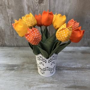 Textil tulipán /szett: 12 db/ ingyen ajándékkísérővel - otthon & lakás - dekoráció - csokor & virágdísz - Meska.hu