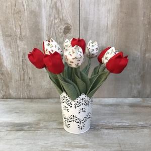 Textil tulipán / szett: 10 szál vegyesen/ ingyen ajándékkísérővel (FDesignbyFruzsina) - Meska.hu