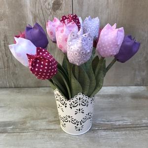 Textil tulipán / szett: 12 db/ ingyen ajándékcímkével, Csokor & Virágdísz, Dekoráció, Otthon & Lakás, Varrás, Egyedi textil TULIPÁNOK eladók. \n\nA csokor 12 szál tulipánt tartalmaz:\n- fehér\n- lila\n-rózsaszín  ár..., Meska