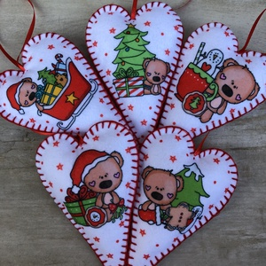 Filc szív karácsonyfadísz /szett: 5db/, Karácsonyfadísz, Karácsony & Mikulás, Otthon & Lakás, Varrás, FILC KARÁCSONYFADÍSZEK\n\n\nKülönleges dísze lehet karácsonyfánknak vagy szuper ajándék szeretteinknek...., Meska
