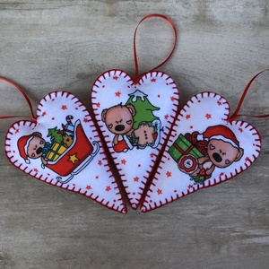Filc szív karácsonyfadísz /szett: 3 db/, Karácsonyfadísz, Karácsony & Mikulás, Otthon & Lakás, Varrás, FILC KARÁCSONYFADÍSZEK\n\n\nKülönleges dísze lehet karácsonyfánknak vagy szuper ajándék szeretteinknek...., Meska