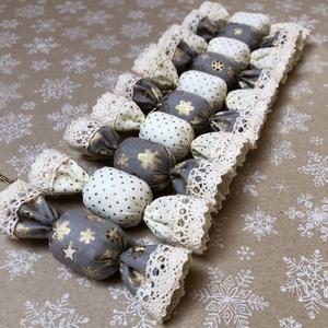 Textil szaloncukor /szett: 10 db/, Otthon & lakás, Karácsony, Dekoráció, Dísz, Karácsonyfadísz, Varrás, TEXTIL SZALONCUKOR  Egyedi textil szaloncukrok eladók karácsonyfadísznek vagy tökéletes ajándékkísé..., Meska