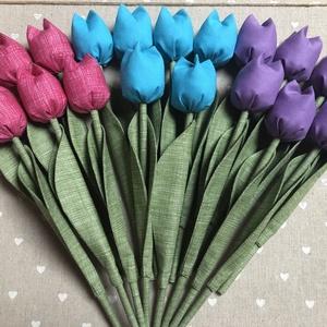 Textil tulipán /szett: 20 db/ ingyen ajándékkísérővel, Csokor & Virágdísz, Dekoráció, Otthon & Lakás, Varrás, Egyedi textil TULIPÁNOK eladók. \n\nA csokor 20 szál tulipánt tartalmaz:\n- 7 lila\n- 7 pink\n- 6 kék\n\nGy..., Meska