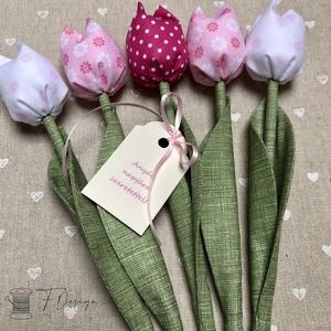 Anyák napi textil tulipánok / szett: 5 db/ ingyen ajándékkísérővel, Otthon & lakás, Dekoráció, Csokor, Varrás, Egyedi textil TULIPÁNOK eladók. \n\nA csokor 5 szál tulipánt tartalmaz rózsaszín árnyalatokban.\n\nGyöny..., Meska