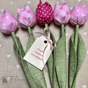 Anyák napi textil tulipánok / szett: 5 db/ ingyen ajándékkísérővel, Csokor & Virágdísz, Dekoráció, Otthon & Lakás, Varrás, Egyedi textil TULIPÁNOK eladók. \n\nA csokor 5 szál tulipánt tartalmaz rózsaszín árnyalatokban.\n\nGyöny..., Meska