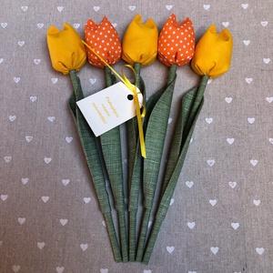 Pedagógus napi tulipán csokor /szett: 5 szál/ ingyen ajándékkártyával, Otthon & lakás, Dekoráció, Varrás, Egyedi textil TULIPÁNOK eladók. \n\nA csokor 5 szál tulipánt tartalmaz narancs és sárga  árnyalatokban..., Meska