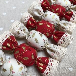 Textil szaloncukor /szett: 10 db/, Otthon & Lakás, Karácsony & Mikulás, Karácsonyfadísz, Varrás, TEXTIL SZALONCUKOR\n\nEgyedi textil szaloncukrok eladók karácsonyfadísznek vagy tökéletes ajándékkísér..., Meska