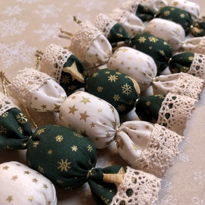Textil szaloncukor /szett: 10 db/, Karácsony & Mikulás, Karácsonyfadísz, Varrás, TEXTIL SZALONCUKOR\n\nEgyedi textil szaloncukrok eladók karácsonyfadísznek vagy tökéletes ajándékkísér..., Meska