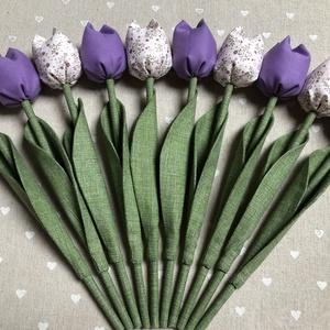 Textil tulipán /szett: 10 db/ ingyen ajándékkísérővel, Otthon & Lakás, Dekoráció, Csokor & Virágdísz, Varrás, Egyedi textil TULIPÁNOK eladók. \n\nA csokor 10 szál tulipánt tartalmaz lila árnyalatban.\n\nGyönyörű dí..., Meska