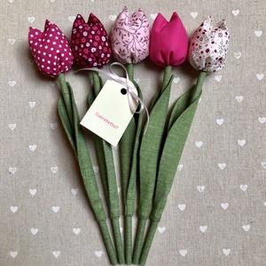 Tulipàn /szett: 5 szál/ ingyen ajándékkísérővel, Otthon & Lakás, Dekoráció, Csokor & Virágdísz, Egyedi textil TULIPÁNOK eladók.   A csokor 5 szál  tulipánt tartalmaz.  Gyönyörű dísze lehet otthonu..., Meska