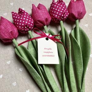 Anyák napi textil tulipánok / szett: 5 db/ ingyen ajándékkísérővel, Otthon & Lakás, Dekoráció, Csokor & Virágdísz, Egyedi textil TULIPÁNOK eladók.   A csokor 5 szál tulipánt tartalmaz.  Gyönyörű dísze lehet otthonun..., Meska