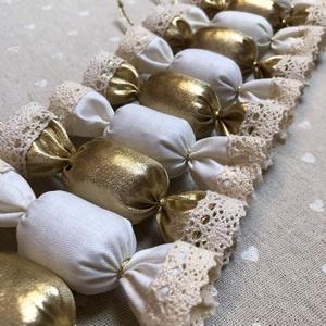 Textil szaloncukor /szett: 10 db/, Karácsony, Karácsonyi lakásdekoráció, Karácsonyfadíszek, Varrás, Meska