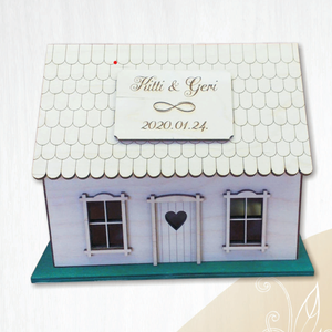 Esküvői ajándékgyűjtő (boríték - persely) házikó (különböző méret), Esküvő, Emlék & Ajándék, Vendégkönyv, Famegmunkálás, Gravírozás, pirográfia, Esküvői házikó diszkrét eleganciájával valódi dísze lehet az esküvői asztalnak. Különböző méretű esk..., Meska