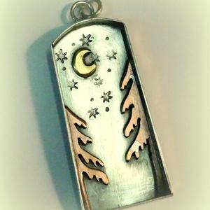"""Nézz az égre!, Ékszer, Medál, Ötvös,  Ezüstből készült ez a különleges medálka, a pici hold a belsejében és a két havas \""""vörösfenyő\""""viszo..., Meska"""