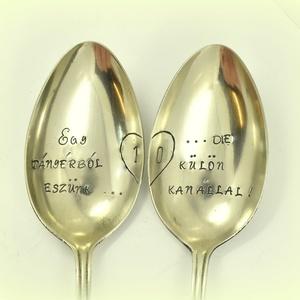 Házassági évfordulós kanál pár, Kanál & Villa, Konyhafelszerelés, Otthon & Lakás, Ötvös, Fémmegmunkálás, Vintage ajándék szerelmeseknek.\nSzöveg:Egy tányérból eszünk...De külön kanállal!\nGondoltál már az EG..., Meska
