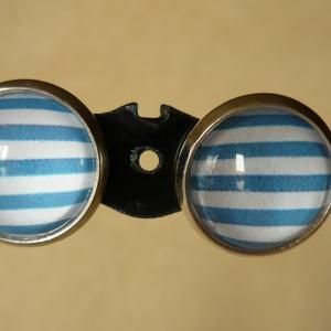 Matrózcsíkos fülbevaló és gyűrű - 12 mm - ékszer - ékszerszett - Meska.hu