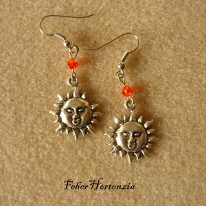 A Nap melege fülbevaló (narancssárga üveggyönggyel), Ékszer, Fülbevaló, Lógó fülbevaló, Ékszerkészítés, Meska