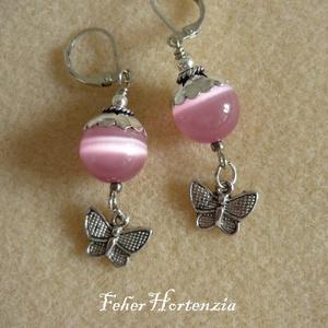 Rózsaszínű macskaszem gyöngy pillangóval (fülbevaló) - Meska.hu