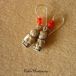 Matrjoska fülbevaló piros gyönggyel, Ékszer, Lógó fülbevaló, Fülbevaló, Ékszerkészítés, Meska