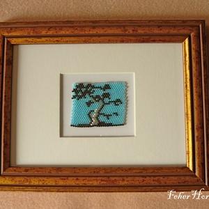 Japán fa gyöngykép (17x22 cm, kitámasztóval és akasztóval) - Meska.hu