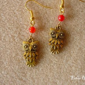 Baglyos fülbevaló (arany színű, piros gyönggyel) - Meska.hu