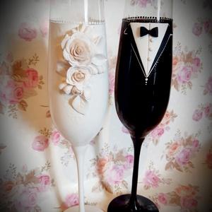 Esküvői pohár szett, Otthon & lakás, Konyhafelszerelés, Bögre, csésze, Egyéb, Esküvő, Gyurma, Tökéletes nászajándék az ifjú párnak:-)))), Meska