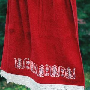 Fehérnép hímzett törölközője 50x100 vörös-fehér (fehernep) - Meska.hu