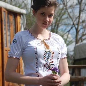 Zalai Fehérnép szűrhímzéses szalagos blúza - fehér RU, Blúz, Női ruha, Ruha & Divat, Hímzés, Varrás, Csillagszemű magyar asszonyok, hölgyek szépségének emelésére készítettük.\n\nA felső öko-tex standard ..., Meska