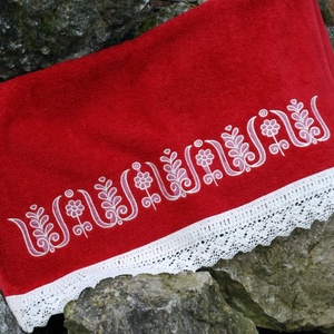 Fehérnép hímzett törölközője 30x50 vörös-fehér (fehernep) - Meska.hu