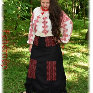 """""""Borbolya"""" szoknya – fekete, Táska, Divat & Szépség, Magyar motívumokkal, Ruha, divat, Női ruha, Varrás, Hímzés, Keresztszemes """"Borbolya"""" kollekciónk első darabja, előttünk itt járt asszonytársaink emlékére, lépte..., Meska"""