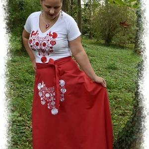 Rábaközi lapszoknya – piros, Ruha & Divat, Női ruha, Szoknya, Varrás, Hímzés, Csillagszemű magyar asszonyok, hölgyek szépségének emelésére készítettük.\n\nFestett pamutvászonból, e..., Meska