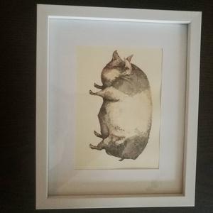 Vintage akvarell, Pig2/ Sertés2, Dekoráció, Otthon & lakás, Kép, Képzőművészet, Festmény, Festészet, Fotó, grafika, rajz, illusztráció, Merített papírra tus és akvarell technikával készült  kép. Jól illik többek között a vintage stílusú..., Meska