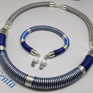 kék csíkos ékszerszett, Ékszer, Nyaklánc, Karkötő, Ékszerkészítés, Kék csíkos fonal nyakék és hozzá illó karkötő, mely hétköznapi viselethez, de akár ünnepi alkalomra ..., Meska