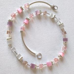 Rózsaszín-lila csillogás CUBE, Ékszer, Nyaklánc, Gyöngyös nyaklác, Ékszerkészítés, Horgolás, Színes csillogó 6 mm-es  kockákból készült nyaklánc\nNyaklánc hossza 45 cm\nA nyaklánchoz karkötő és f..., Meska