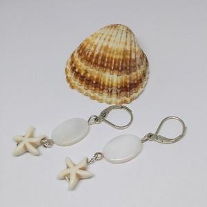 tengeri csillagos fülbevaló, Ékszer, Fülbevaló, Lógó fülbevaló, Ékszerkészítés, Meska