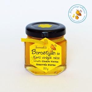 borostyán és kerti virágok méze mini díszüvegben, Méz, Kulinária (élelmiszer), Élelmiszer előállítás, ha nem mi vesszük el a kereteket, és fedelezzük, s pergetjük ki belőle ezt a mézet, talán el sem hin..., Meska