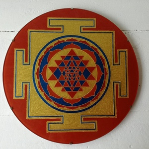 Sri Yantra, Egyéb, Üvegművészet, A Sri Yantrát 30 cm-es méretben készítem, saját kézzel vágott és csiszolt üveglapra festem, akrilfes..., Meska