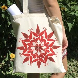 Kézzel festett vászon szatyor , Shopper, textiltáska, szatyor, Bevásárlás & Shopper táska, Táska & Tok, Festett tárgyak, Kézzel festett vászon szatyor, saját tervezésű mintával.\nMérete: 37x41 cm\nFülekkel együtt : 80 cm\nMo..., Meska