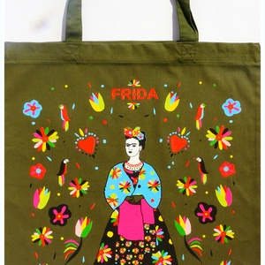 \' Frida\' táska -oliva zöld bevásárló/shoppingtáska /shopper , Shopper, textiltáska, szatyor, Bevásárlás & Shopper táska, Táska & Tok, Varrás, Új dizájnunkkal készült válltáska amit Frida Kahlo ihletett. Frida Kahlo karakteres, ma is ható, kül..., Meska
