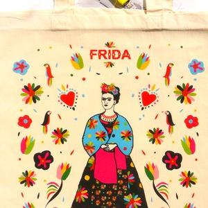 \' Frida\' táska -natúr bevásárló/shoppingtáska /shopper , Shopper, textiltáska, szatyor, Bevásárlás & Shopper táska, Táska & Tok, Varrás, Új dizájnunkkal készült válltáska amit Frida Kahlo ihletett. Frida Kahlo karakteres, ma is ható, kül..., Meska